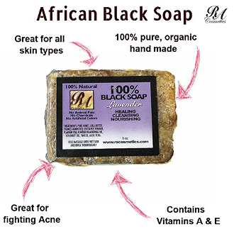 100% African Black Soap w/ Lavender 5 oz